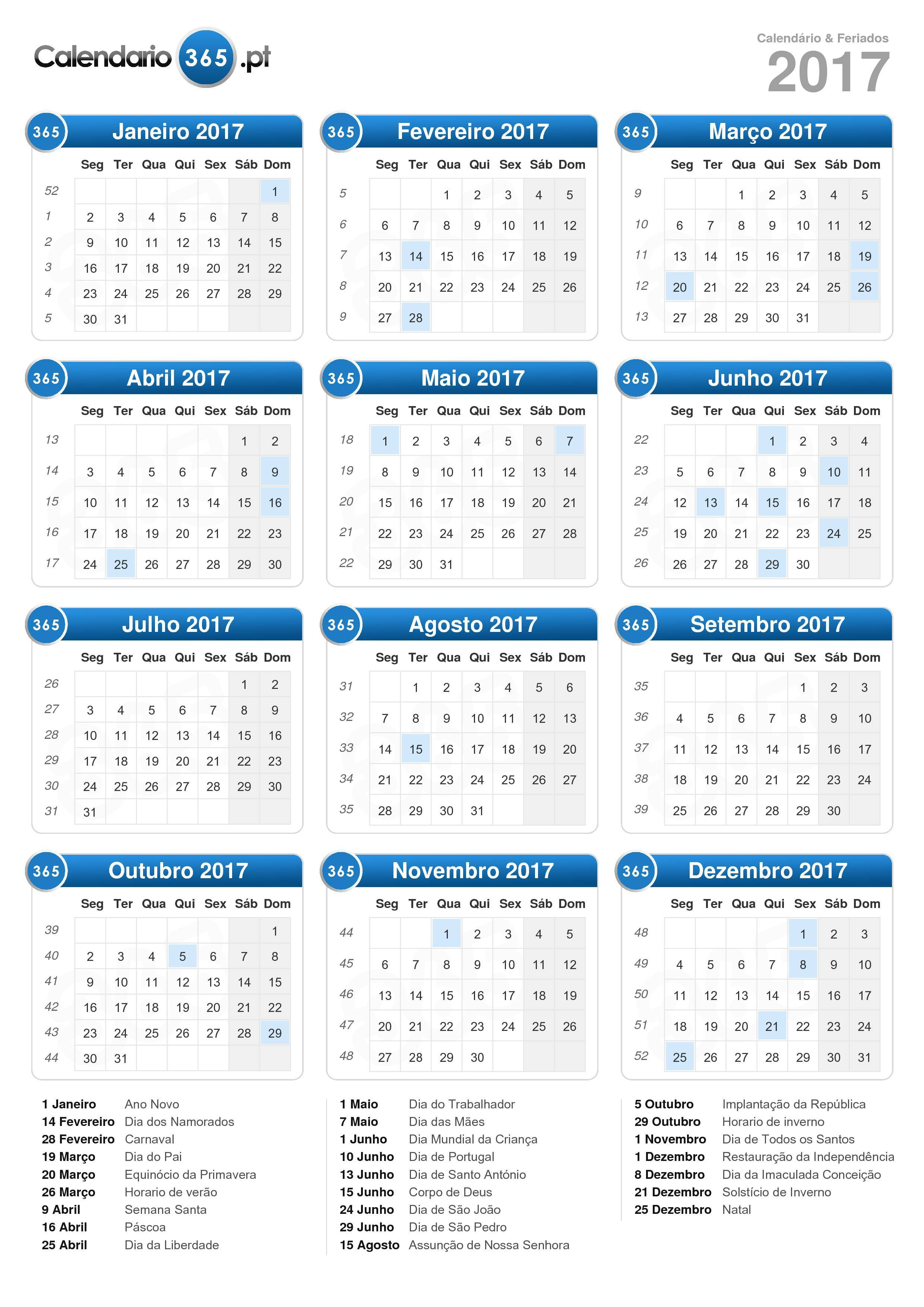 Baixe o Calendário 2017 com feriados . (Formato de retrato - 1 ...