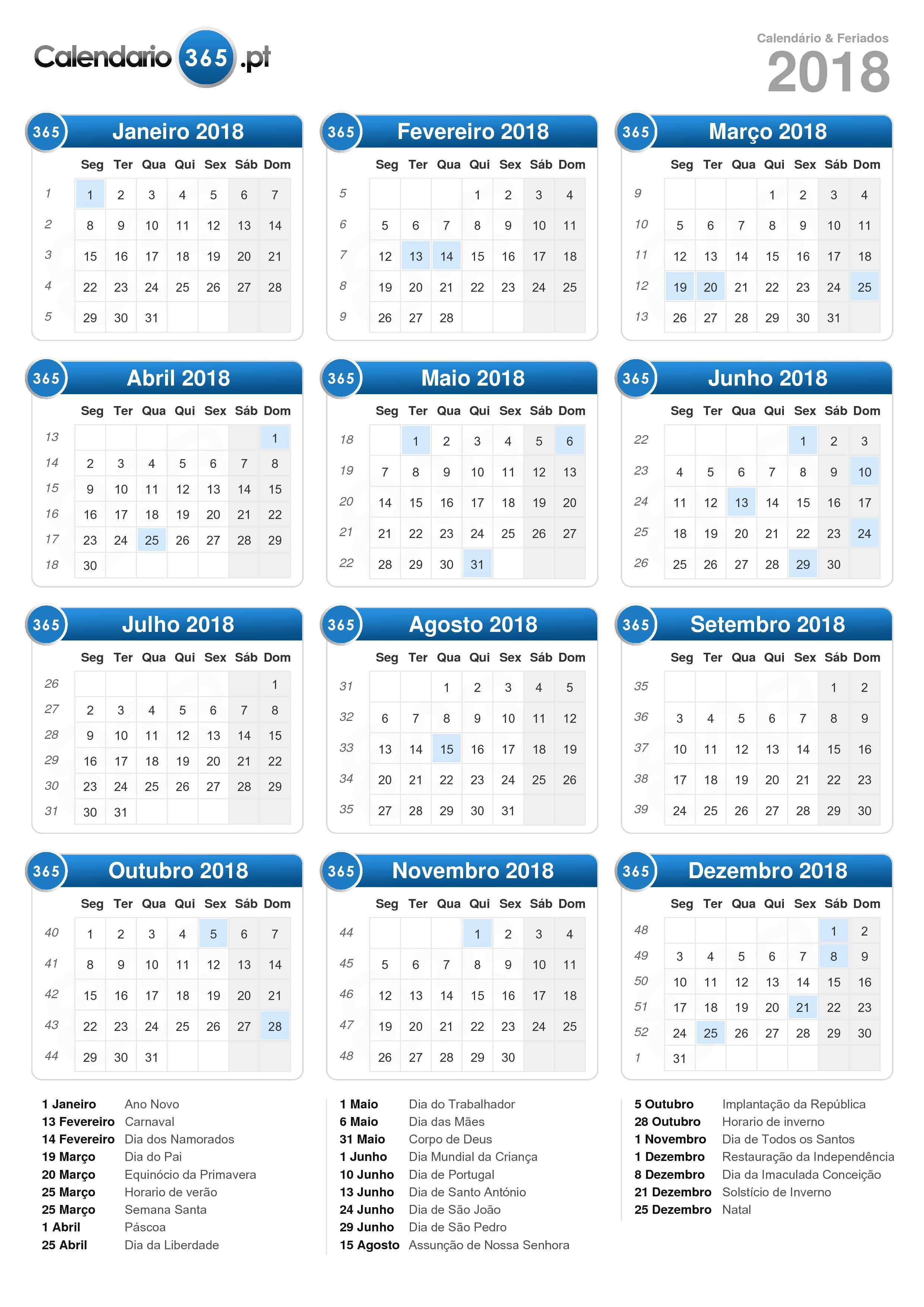 Calendario Online 2018