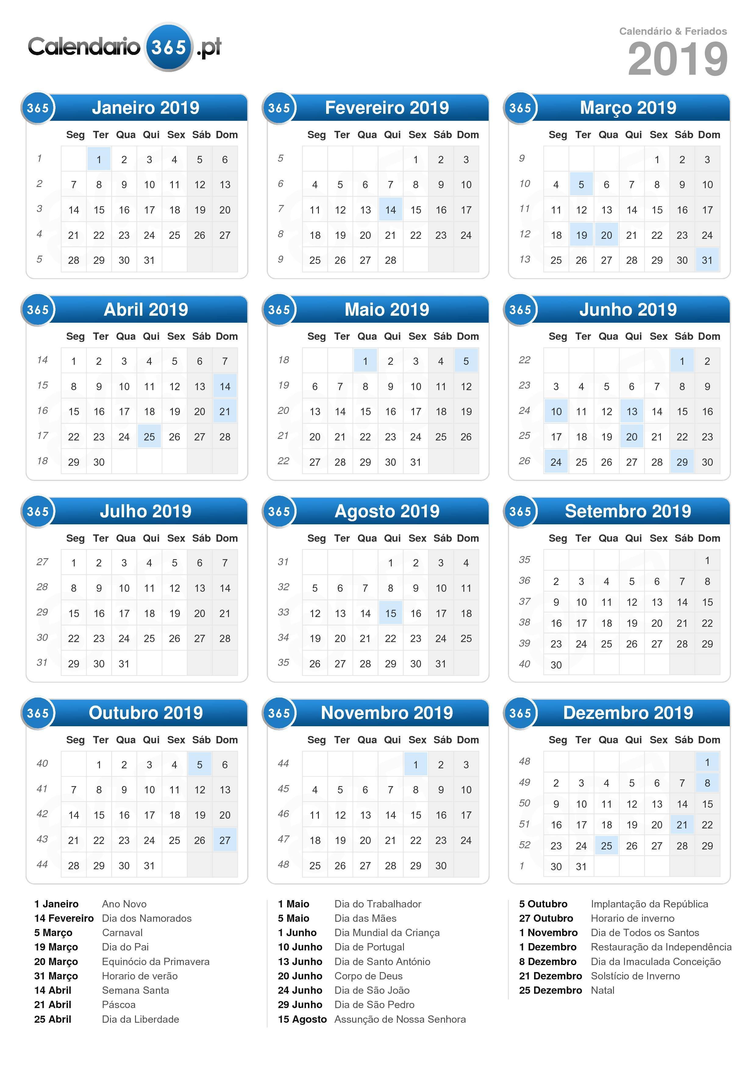 Calendario Por Semanas 2019