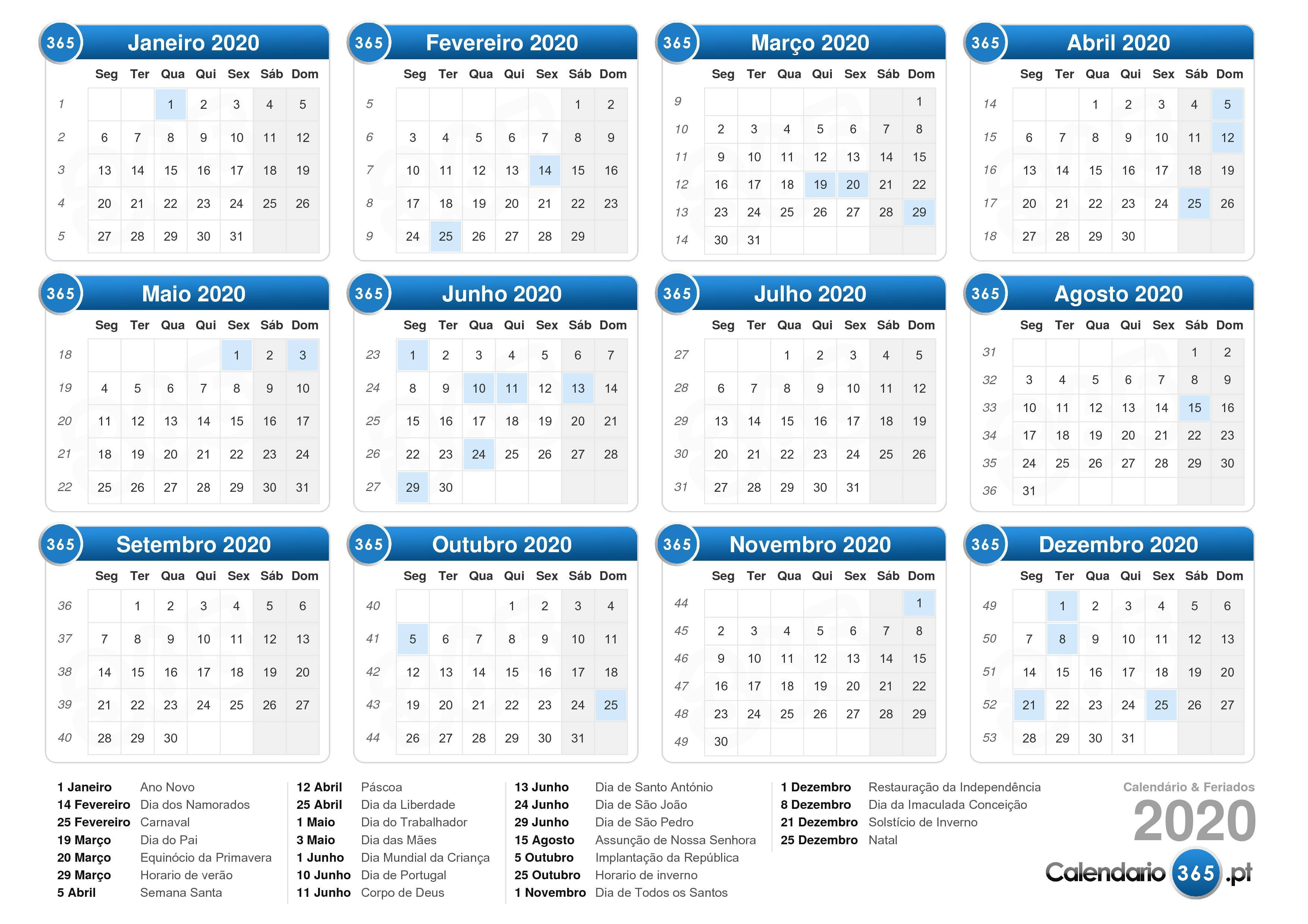 Calendario 2020 Portugues Com Feriados.Calendario 2020