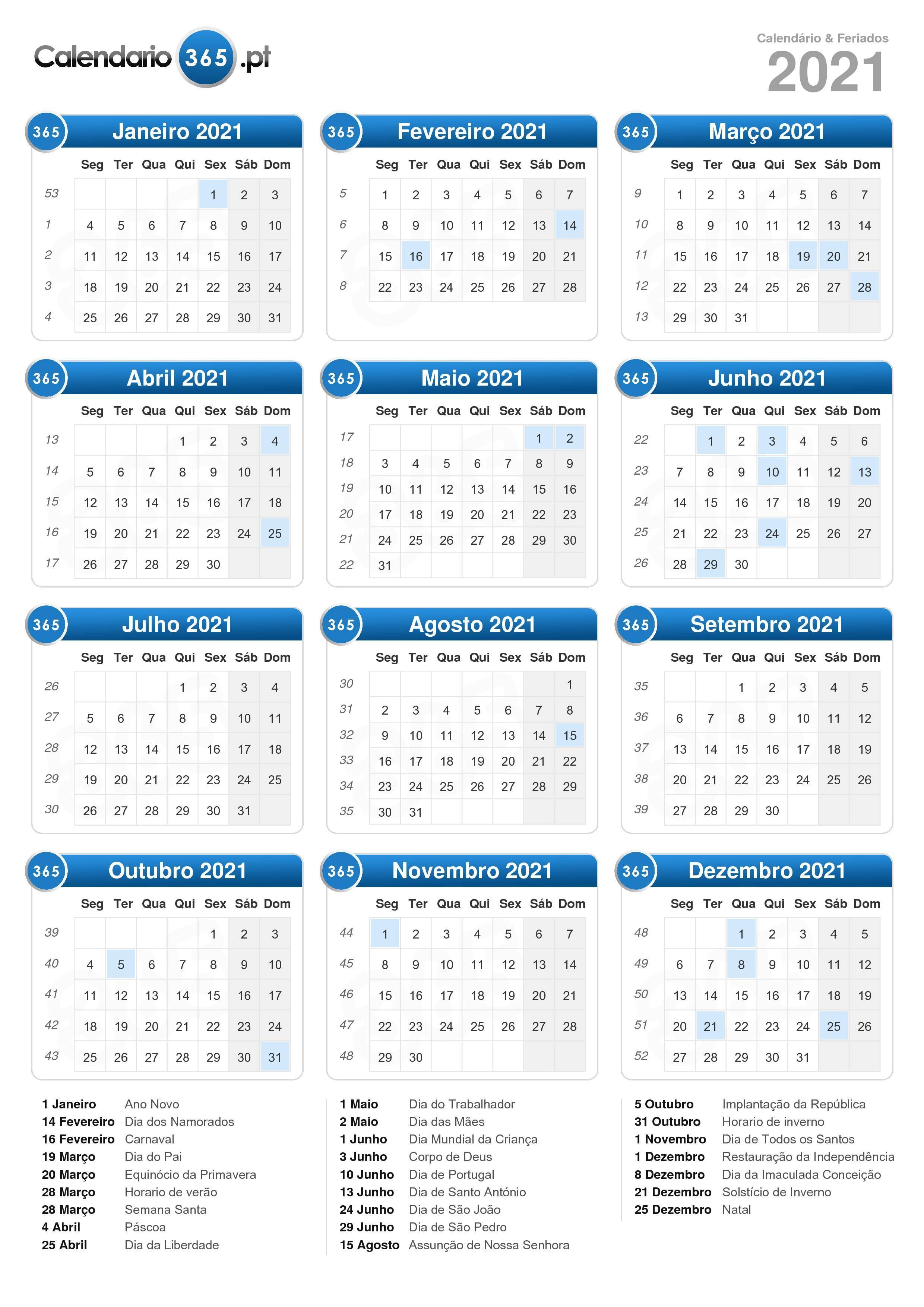 Calendario 2020 Portugal Com Feriados.Calendario 2021