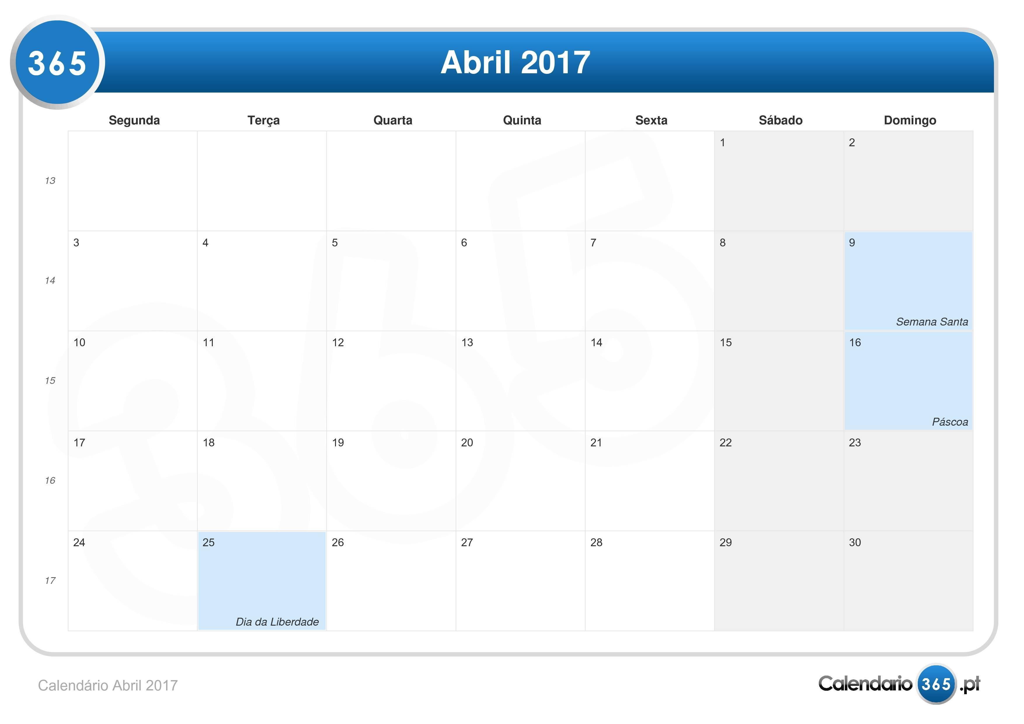 Calend rio abril 2017 for Calendario ferias