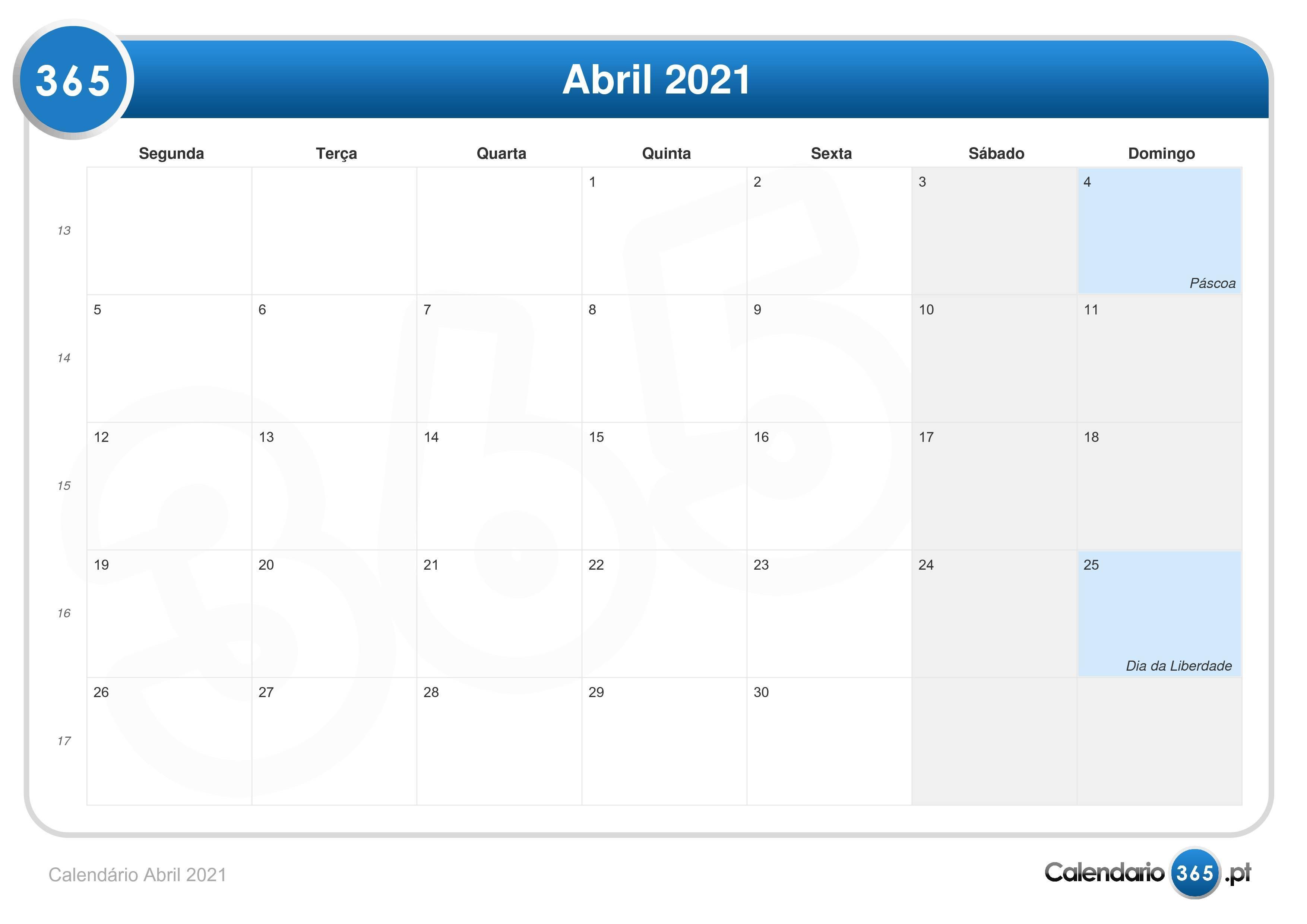 Calend U00e1rio Abril 2021