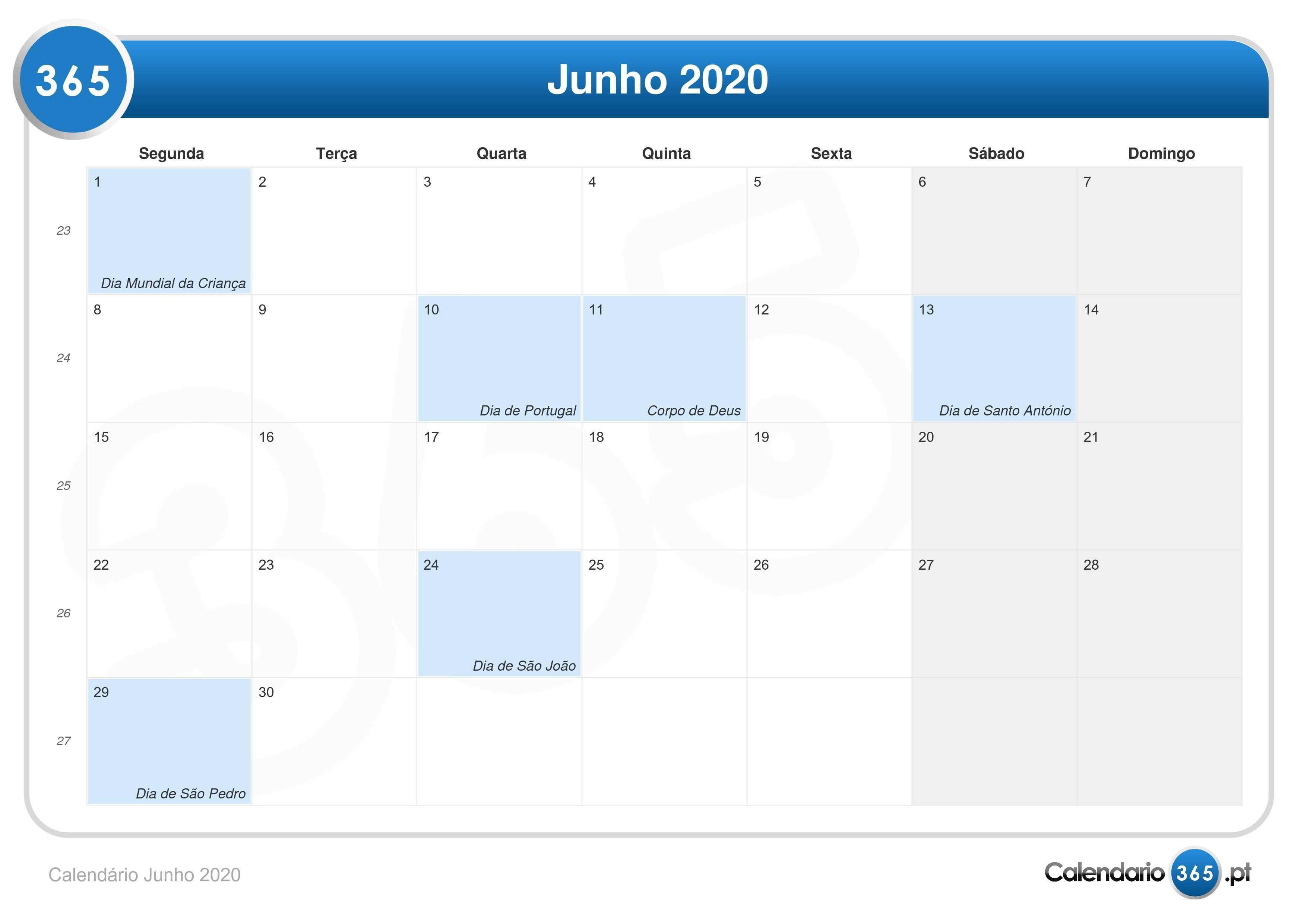 Calendario 2020 Portugal Com Feriados.Calendario Junho 2020