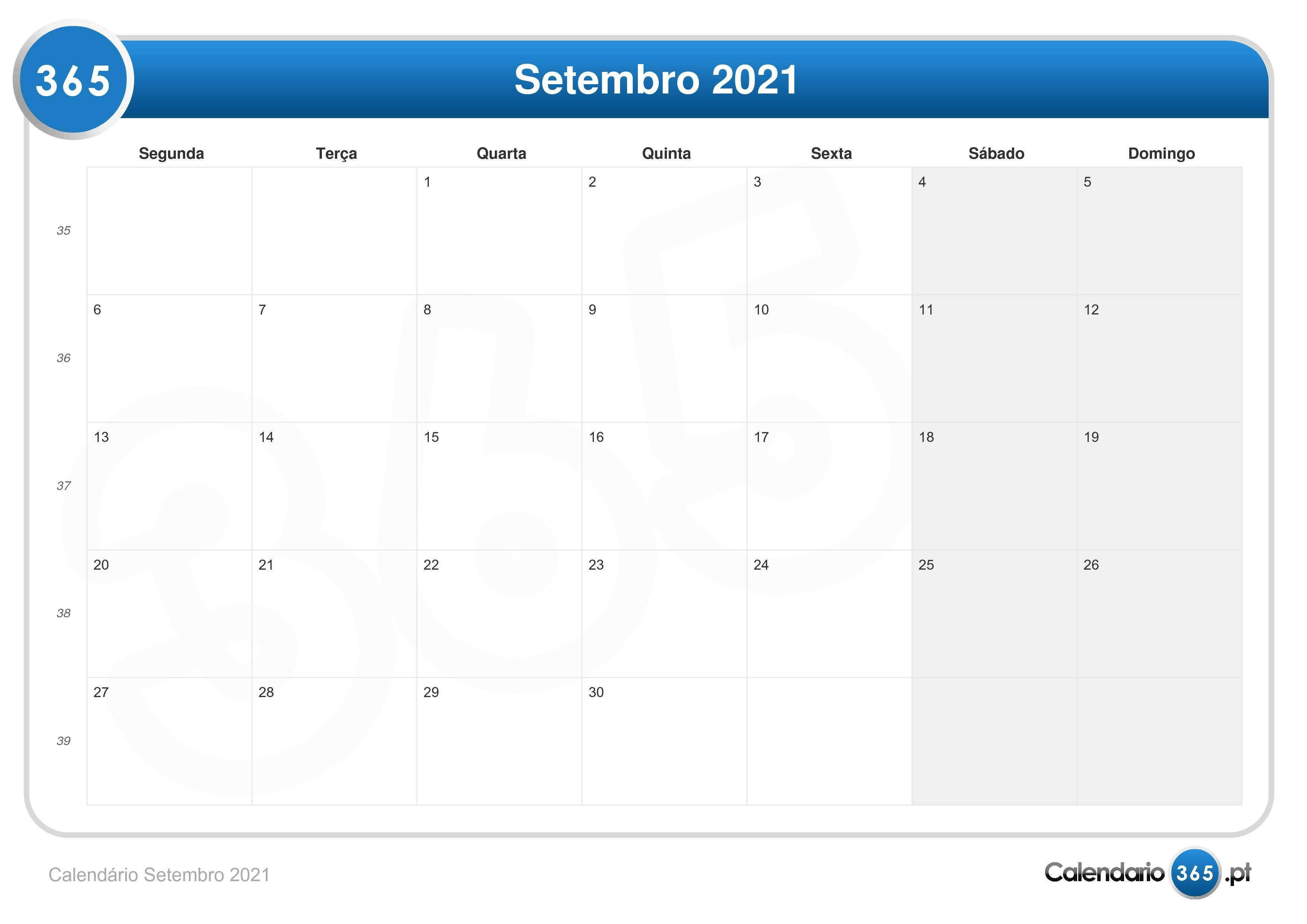 Calendario Setembro 2021